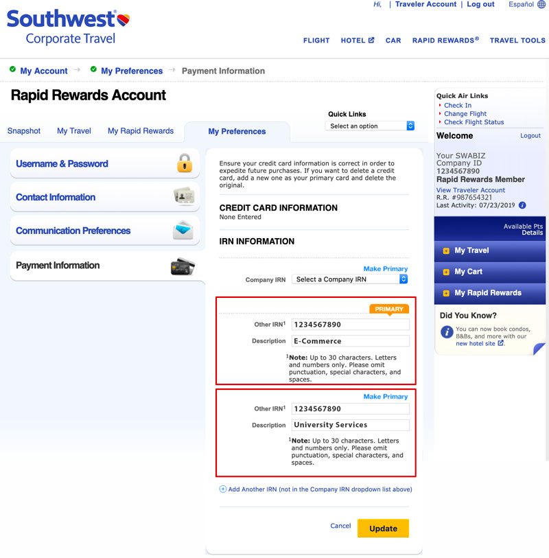 Instructions For Employees With A Current Southwest